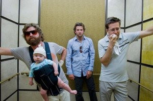 The Hangover Wolfpack Rides an Elevator Down